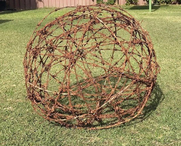 Australian Rusted Barbed Wire Ball Garden Art