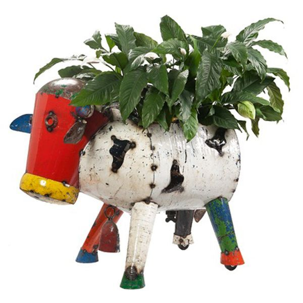 Eeieeio Metal Animal Clarence The Cow Planter Large