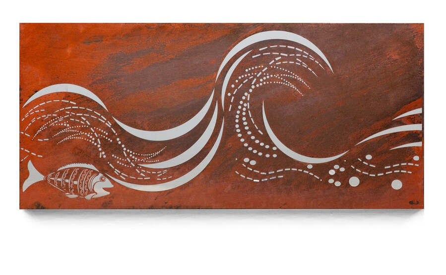 Mild Steel Ocean Wall Art Surf Wave 4
