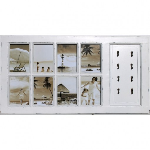Rustic Beach White 8 Multi Picture Frame Wall Decor
