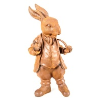 Rusted Cast Iron Mad Hatter Rabbit Garden Art