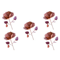 Set 5 Metal Rust Flower Garden Art Stakes