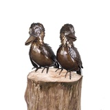 My Piece of Africa Double Kookaburra on Short Wooden Post Outdoor Metal Garden Sculpture