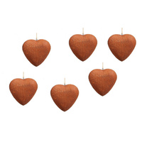 Set 6 Rustic Metal Hanging Hearts Garden Sculpture