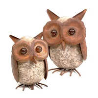 Set 6 Small Owl Garden Ornaments