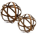 Australian Rusted Sculptural Ball Set of 2 Garden Art