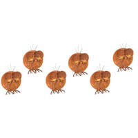 Set of 6 Rusted Metal Round Bird Garden Art Large