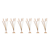 Set 6 Metal Rust Bullrush Bush Garden Art Stakes