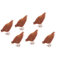 Set 6 Large Feeding Chickens Rusted Garden Art