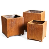 Set 3 Square Rusted Steel Planters