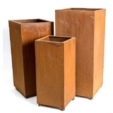 Set 3 Tall Rusted Steel Garden Planters
