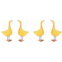 Set 4 Yellow Ducks Metal Garden Decoration