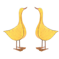 Set 2 Yellow Ducks Large Metal Garden Decor