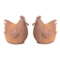 Set 2 Fat Chook Sitting Rusted Metal Garden Art Large