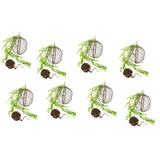 Set 8 Large Rusted Mesh Hanging Ball Planter Garden Art