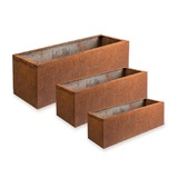 Set 3 Rusted Steel Trough Planters Outdoor Decor