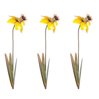 Set of 3 Daffodil Metal Garden Stakes