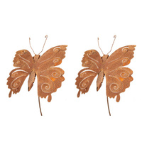 Set 2 Metal Rust Butterfly Garden Art Stakes