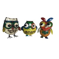 EEIEEIO Owl Trio Outdoor Recycled Garden Art