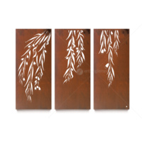 Laser Cut Natural Rust Triptych Wall Art - Snowgum Set of 3
