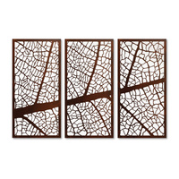 Leaf Vein Screen Triptych Outdoor Metal Wall Art