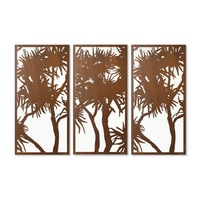 Pandanus Screen Triptych Outdoor Metal Wall Art