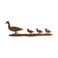 Duck and Three Ducklings Metal Garden Ornament