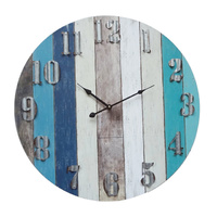 Vintage Blue Boards Beach Wall Clock