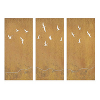 Decorative Metal Privacy Screens Birds Set 3