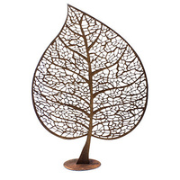 Outdoor Metal Sculpture Leaf Skeleton Silhouette