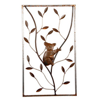 Koala on Tree Corten Steel Garden Wall Art