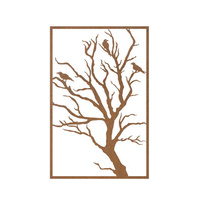 Three Birds on Tree Outdoor Mild Steel Wall Art