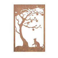 Cat and Bird Outdoor Garden Wall Art Panel