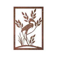 Crane Round Metal Wall Art