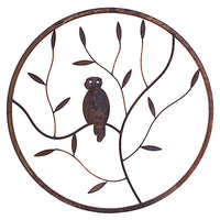 Owl Round Metal Wall Art