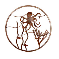 Octopus Round Mild Steel Wall Art