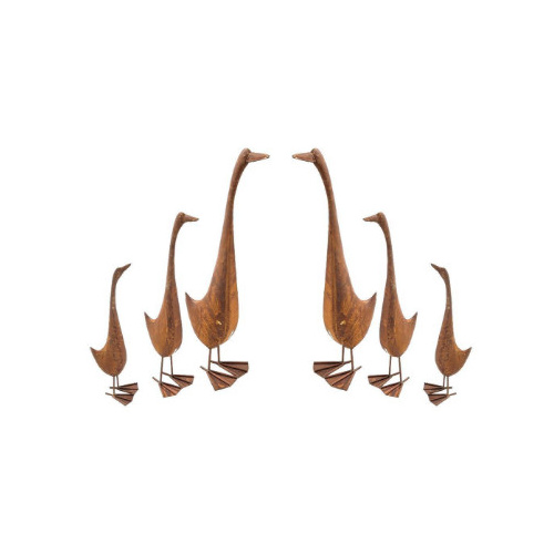 Set of 6 Rusted Geese Metal Garden Art