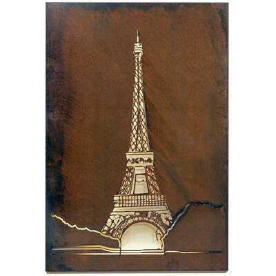 Textural Rustic Wall Art - Eiffel Tower - Large