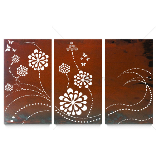 Outdoor Wall Decor - Triptych Flower Wave
