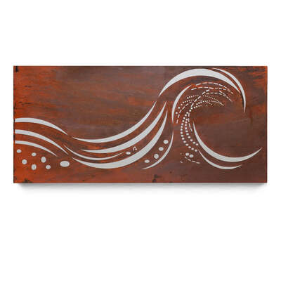 Mild Steel Rustic Ocean Wall Art - Surf Wave #5