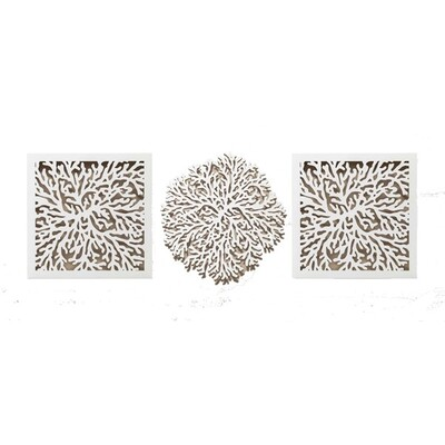 Coral Deco Set of 3 Outdoor Wall Art