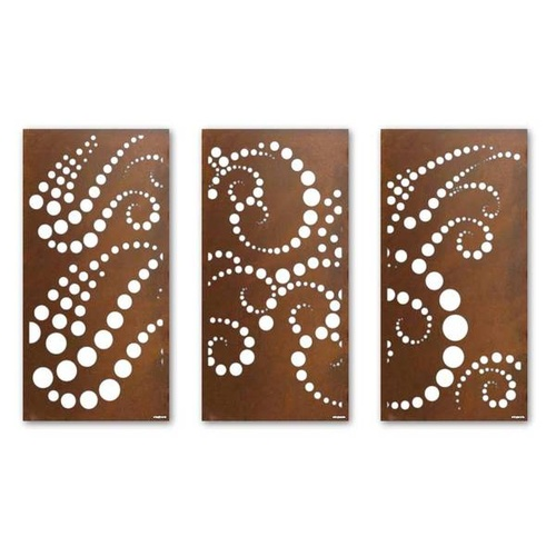Bubblewave Screen Triptych Outdoor Metal Wall Art