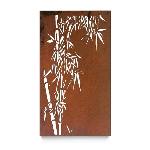 Laser Cut Steel Outdoor Wall Art Single Bamboo Panel