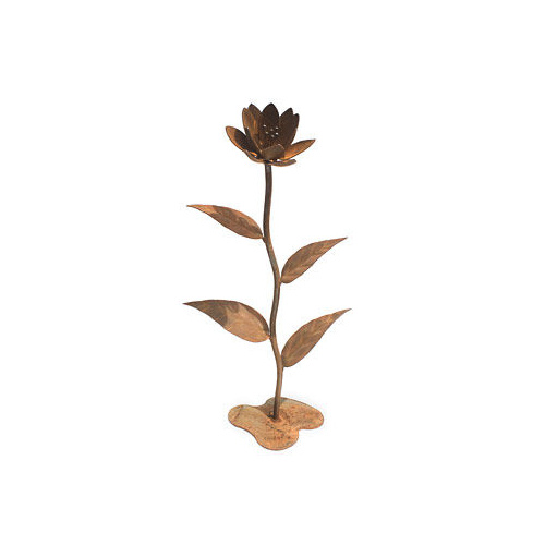 Flower & Large Leaves Metal Art Sculpture
