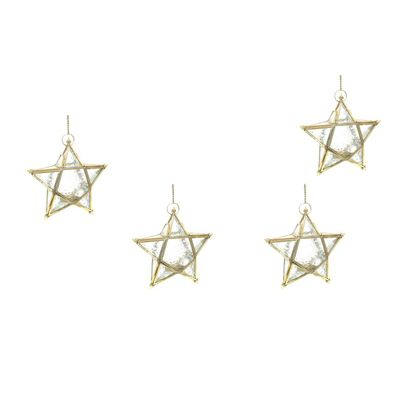 Set of 4 Brass Star Hanging Lantern Clear Gold