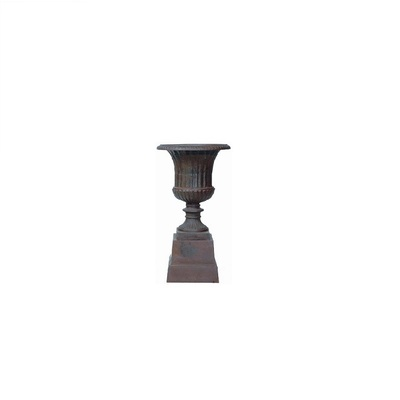 Cast Iron Fluted Bowl on Plinth Outdoor Urn