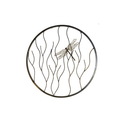 Dragonfly on Branches Round Metal Garden Wall Art