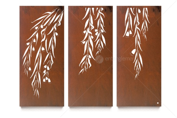 Laser Cut Natural Rust Triptych Wall Art Snowgum Set Of 3