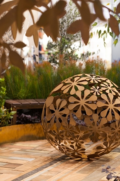Metal Flower Ball Sculpture