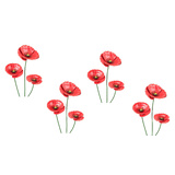 Set 4 Red Poppy Set Outdoor Stakes